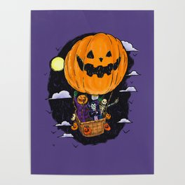 Pumpkin Hot Air Balloon Poster