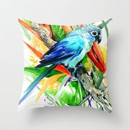 Tropical Foliage, Parrot Jungle floral design Throw Pillow