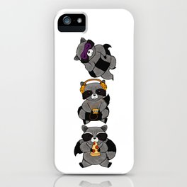 three wise raccoon iPhone Case