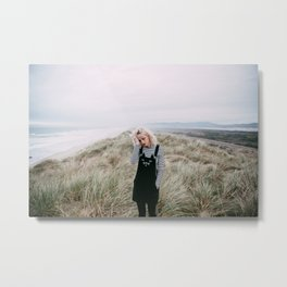 Girl with Cat Overalls on the Oregon Coast Metal Print