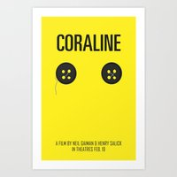 coraline Art Prints featuring Coraline by Lalaine Lim