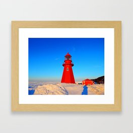 Lighthouse  and Frozen Sea Framed Art Print