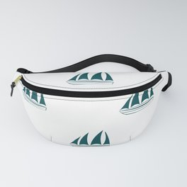 Teal Blue Sailboat Pattern Fanny Pack