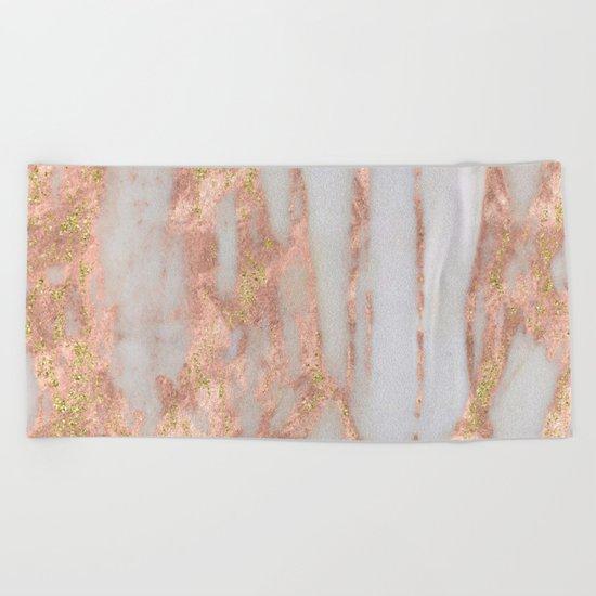 Aprillia - rose gold marble with gold flecks Beach Towel