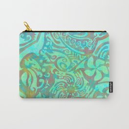 Polynesia Teal Print Carry-All Pouch