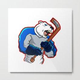 polar bear ice hockey mascot Metal Print