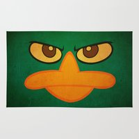 donald duck Area & Throw Rugs featuring Angry Duck by DavinciArt