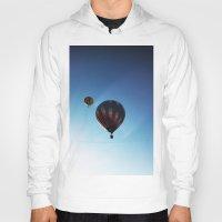 hot air balloons Hoodies featuring Rainbow Hot Air Balloons by Rachel Butler