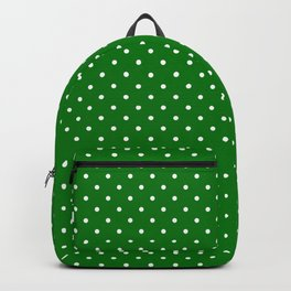 Small White Polkadot Love Heart on Christmas Green Backpack