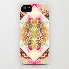 Vintage decorative Gold Turquoise Pink Pattern iPhone Case
