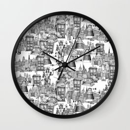 Doctor Who Toile de Jouy   'Walking Doodle'   Black Wall Clock