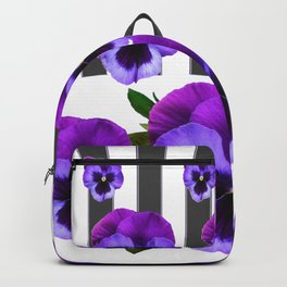 WHITE LILAC & PURPLE PANSY FLOWERS ART Backpack