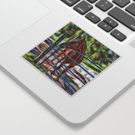 Abstract horse standing at gate Sticker