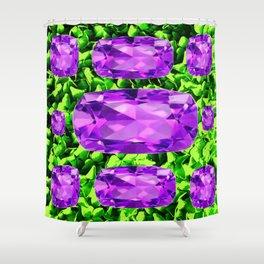 PURPLE AMETHYST FEBRUARY BIRTHSTONE GREEN ART Shower Curtain