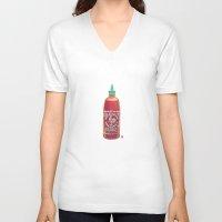 sriracha V-neck T-shirts featuring Sriracha Hot Sauce by Connie Luebbert