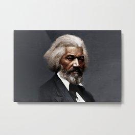 Frederick Douglass, African American Civil Rights Pioneer portrait painting Metal Print