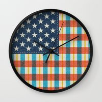 flag Wall Clocks featuring Plaid Flag. by Nick Nelson