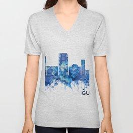 Gurgaon Haryana Skyline Blue Unisex V-Neck