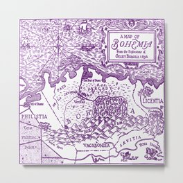 Map of Bohemia (purple) Metal Print