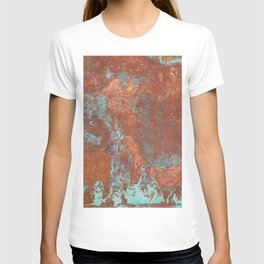 Tarnished Metal Copper Texture - Natural Marbling Industrial Art T-shirt