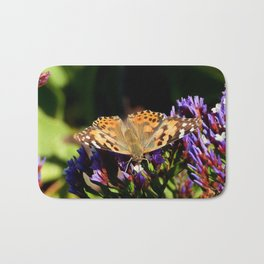 Painted Lady on Statice Blooms Bath Mat