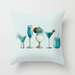 Winter Cocktail - Watercolour Drinks - Party Print Throw Pillow