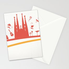 spain  flag symbol element with aeroplane Stationery Cards