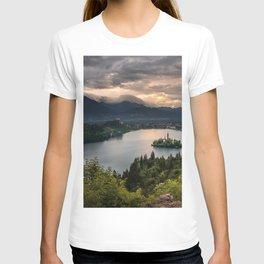 Lake Bled evening sunset mountain landscape forest beautiful lake landmark Slovenia Julian Alps Upper Carniolan region T-shirt