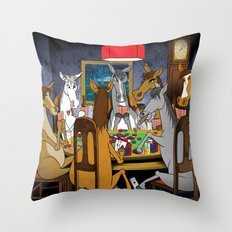 Horses Playing Poker Throw Pillow