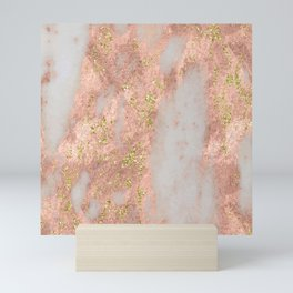 Rose Gold Marble with Yellow Gold Glitter Mini Art Print