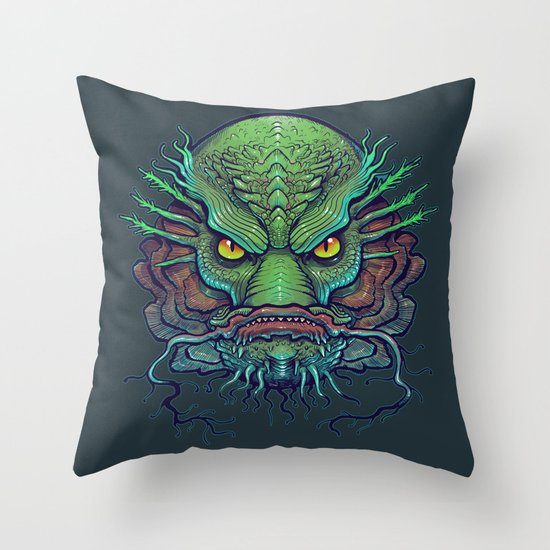 Fish Face Throw Pillow by Missmonster Society6