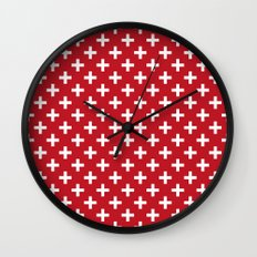 Criss Cross   Plus Sign   Red and White Wall Clock