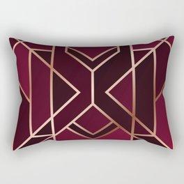 Art Deco Pattern Red Gold Rectangular Pillow