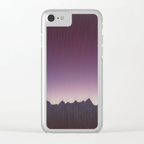 Pink mountains Clear iPhone Case