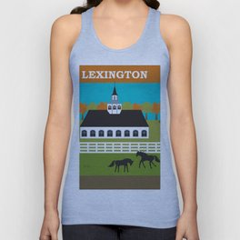 Lexington, Kentucky - Skyline Illustration by Loose Petals Unisex Tank Top