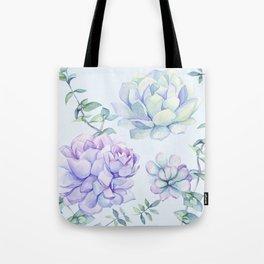 Wonderful Succulents Light Blue Tote Bag