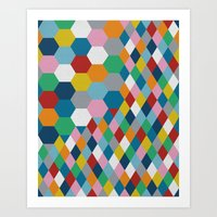 honeycomb Art Prints featuring Honeycomb by Project M