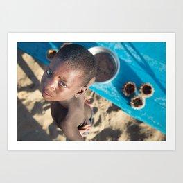 Sea urchin boy, Madagascar. Art Print