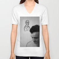 mirror V-neck T-shirts featuring Mirror by Matt Oberski