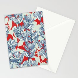 Leaf and Berry Sketch Pattern in Red and Blue Stationery Cards