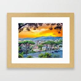 City in fire Framed Art Print