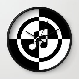 Black and White Music Note Wall Clock