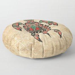 Vintage Red and Green Haida Spirit Sea Turtle Floor Pillow