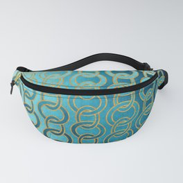 Ocean Blue Watercolor Gold Chain Links Fanny Pack