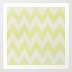 Grey and Lime Green Textured Chevron Pattern Art Print