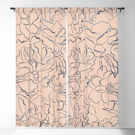 Modern navy blue coral watercolor floral illustration Blackout Curtain