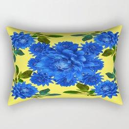Decorative Blue-yellow Blue Dahlia-Leaves Art Abstract Rectangular Pillow