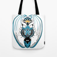 skyfall Tote Bags featuring Skyfall Dragon by Pr0l0gue
