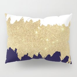 Modern navy blue white faux gold glitter brushstrokes Pillow Sham