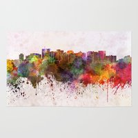 oakland Area & Throw Rugs featuring Oakland skyline in watercolor background by Paulrommer